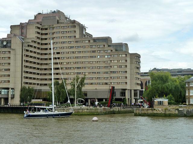 Yacht entering St Katherine's Dock