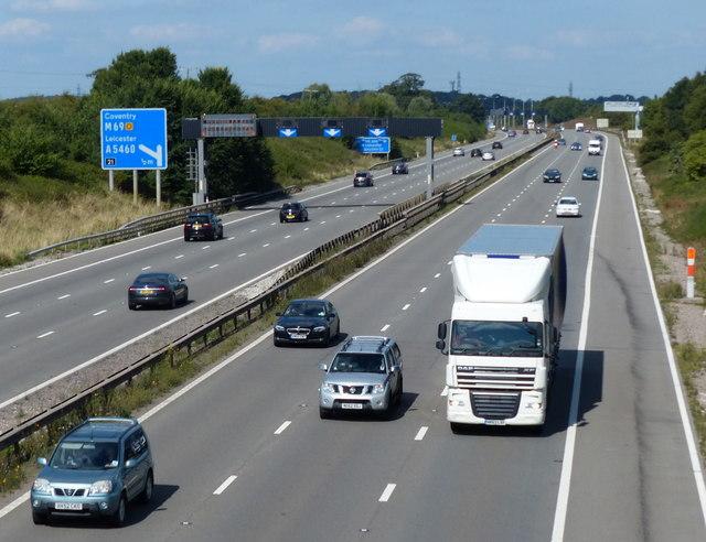 M1 motorway viewed from Blaby Road bridge