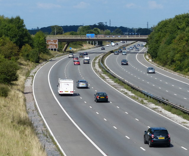 Looking north along the M1 motorway