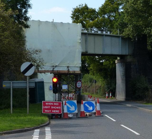 Traffic lights on Huncote Road