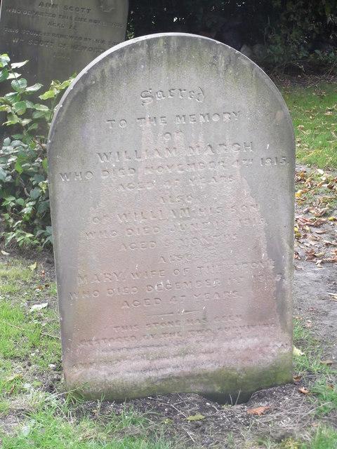 Grave of William March, Holy Trinity Churchyard, Goodramgate, York
