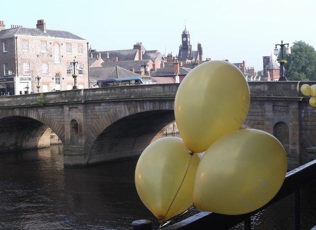 Yellow balloons at Ouse Bridge, York