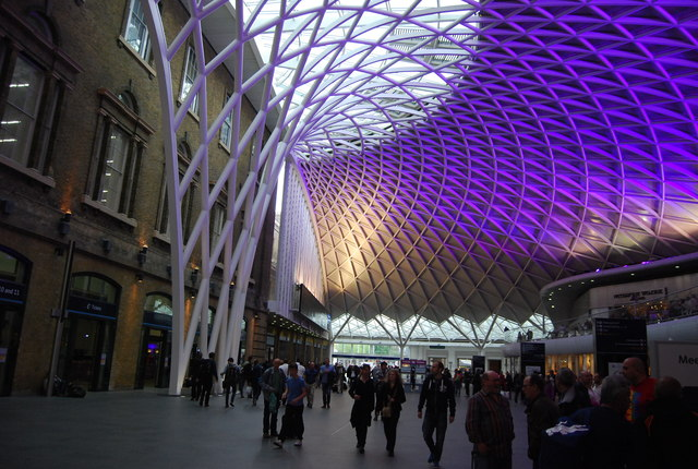 Purple lighting, King's Cross Station