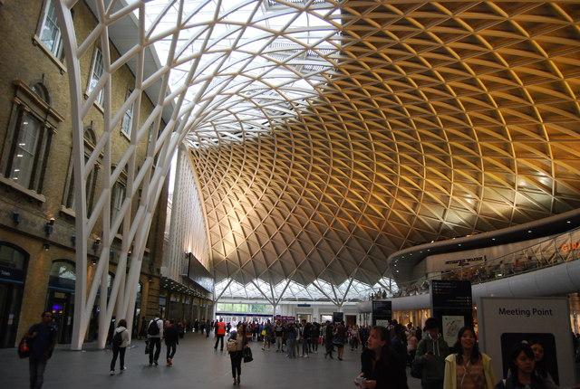 Orange lighting, King's Cross Station