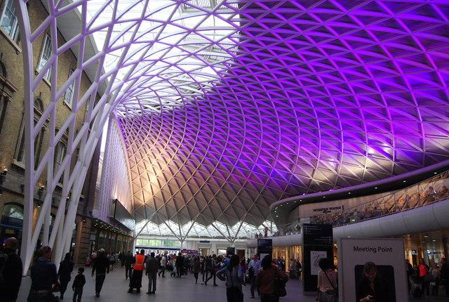 Purple lighting, King's Cross Station