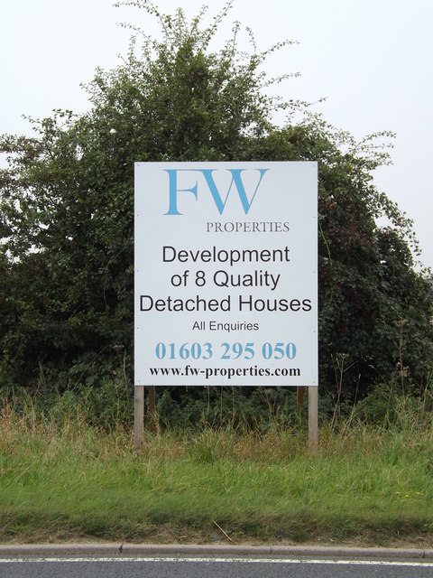 F W properties sign off the B1332 Norwich Road