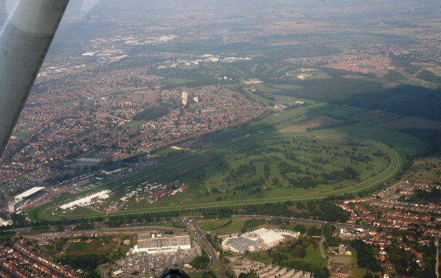 Doncaster Common, Exhibition Centre and Racecourse: aerial 2014
