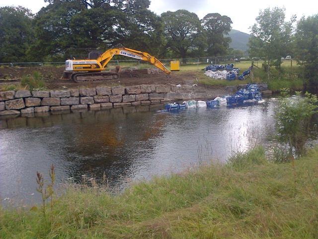Flooded Defence Work, River Derwent