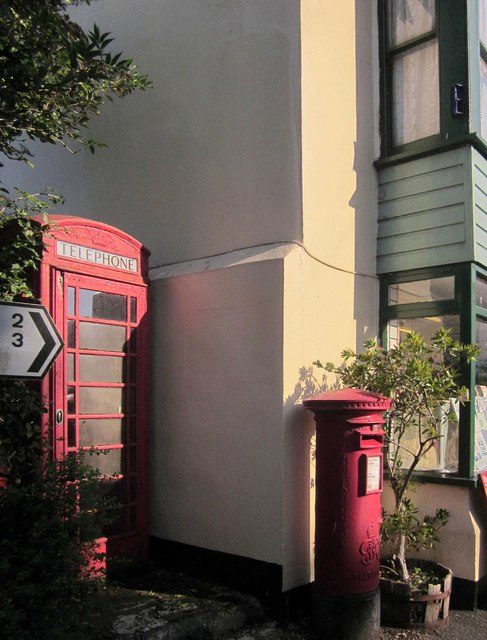 Telephone and post box, Strete