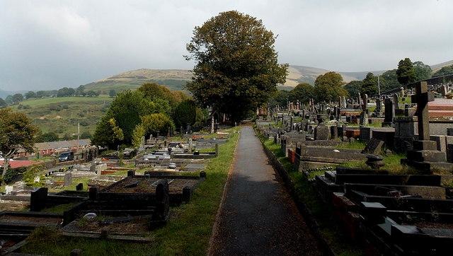 Path across Gelliron Cemetery, Pontycymer