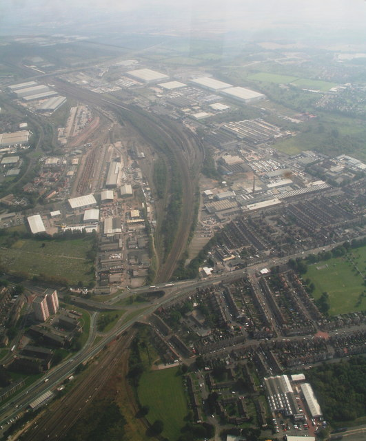 Railport and A18-A630 roundabout, Doncaster: aerial 2014