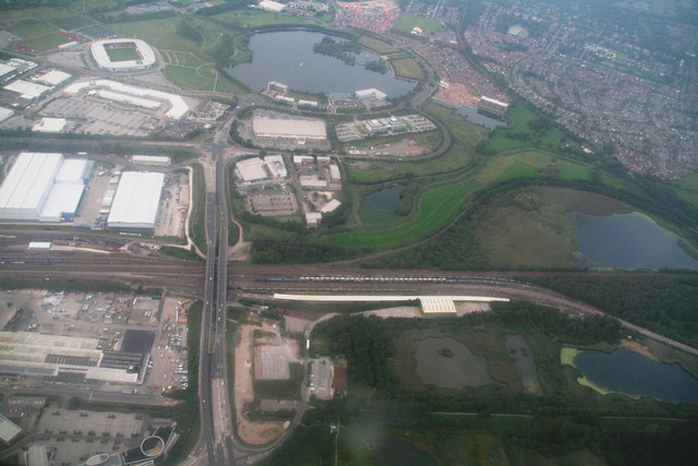 A6182 from M18 Junction 3 crossing the railway by the Railport, Doncaster: aerial 2014