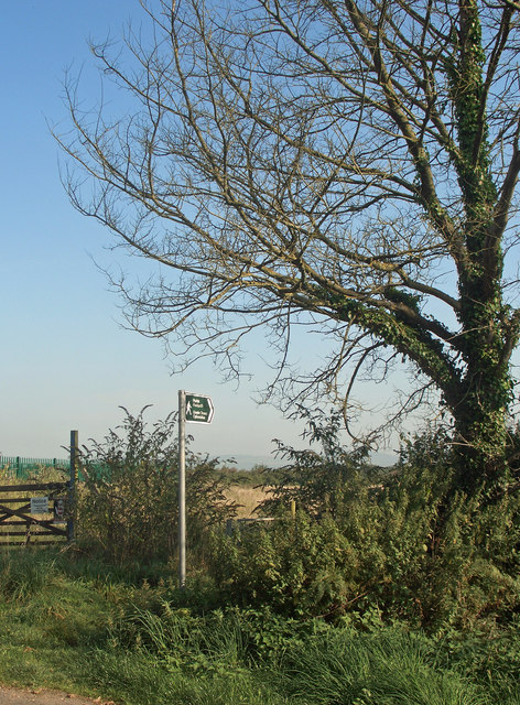 The start of a public footpath on Moor Lane, near Nottage
