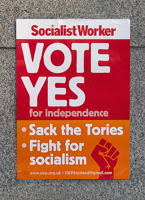 Socialist Worker Vote Yes poster