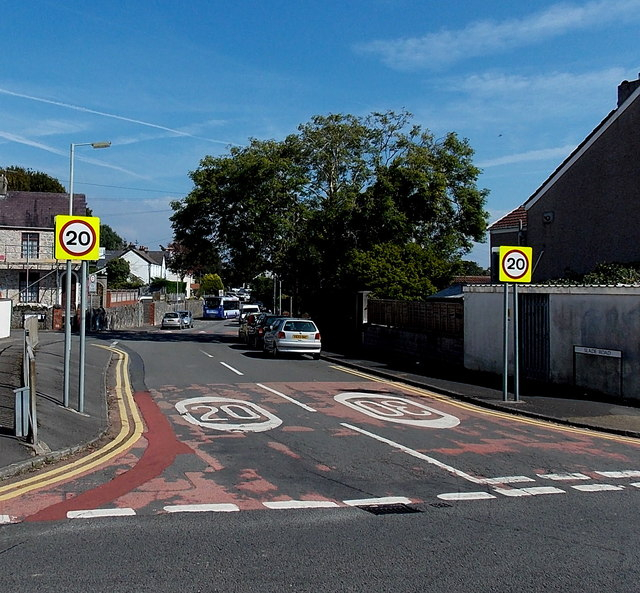 Western end of Slade Road, Newton, Swansea