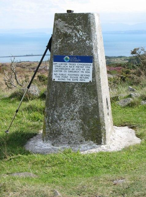The trig point on Mynydd Eilian