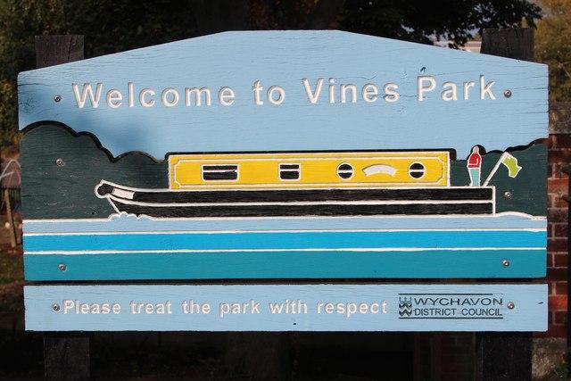 Vines Park sign