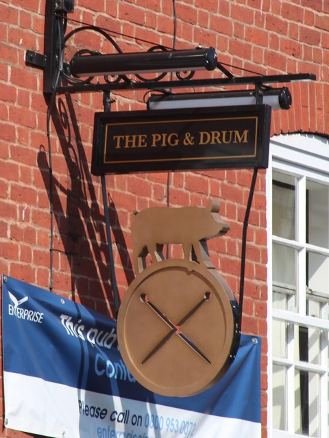 The Pig & Drum sign