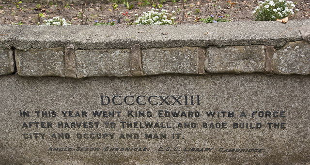 Inscription on the plinth of Thelwall War Memorial
