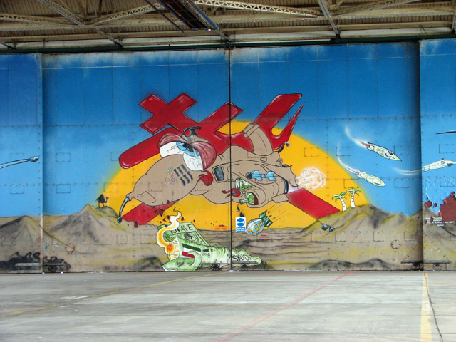 Detail of mural in hangar 1