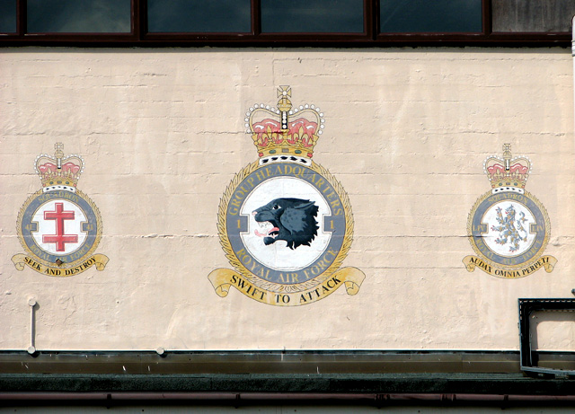 Squadron badges on hangar 2
