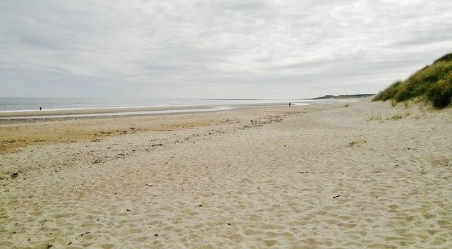 Druridge Bay beach and dunes looking towards Cresswell