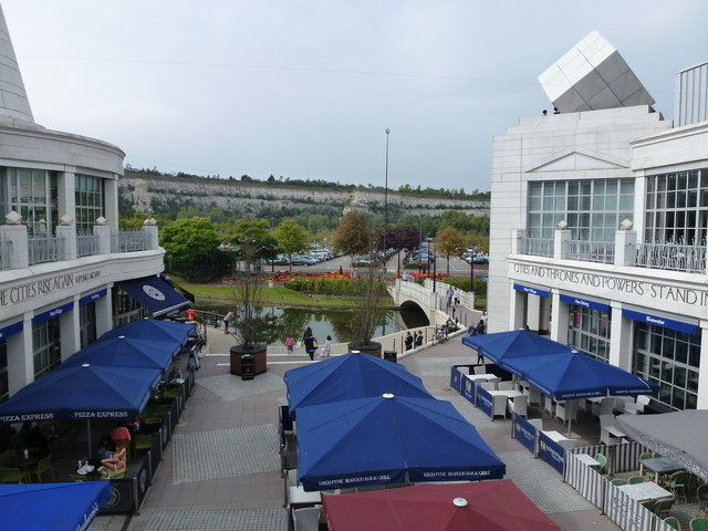 Outside dining area of The Village, Bluewater, Kent