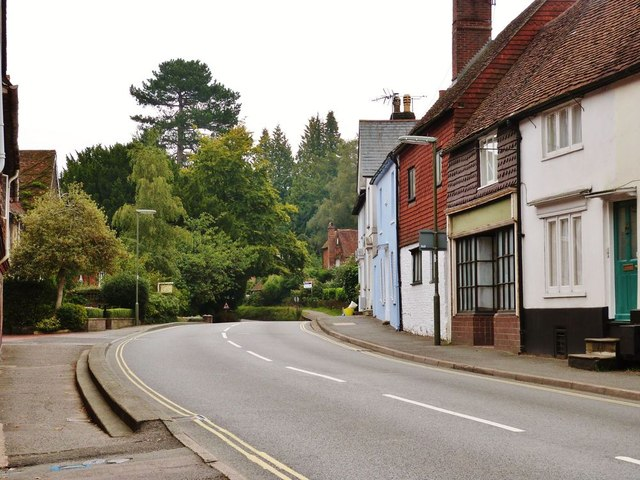 Fine old buildings line the bend in the Petworth road out of Haslemere