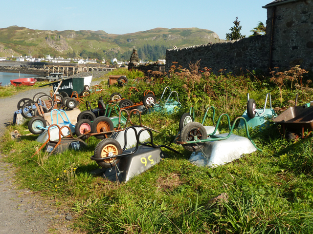 Haulage fleet of wheelbarrows