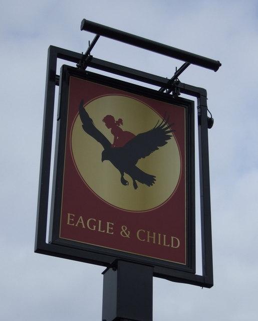 Sign for the Eagle & Child pub