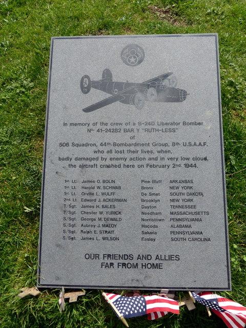 USAAF B24-D Memorial, Butts Brow