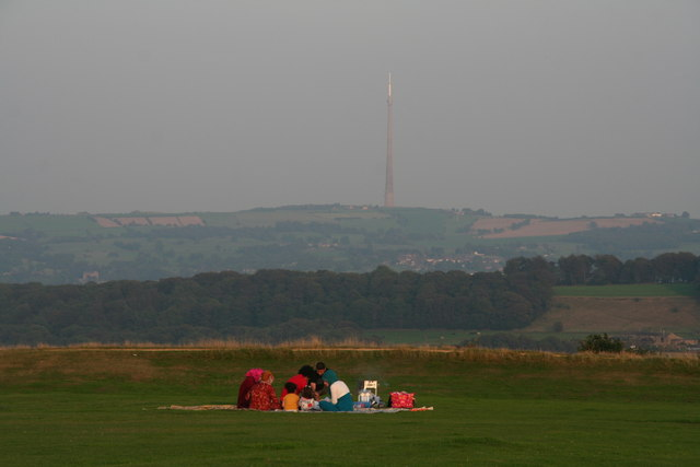 Picnic on Castle Hill with a view of Emley Moor mast