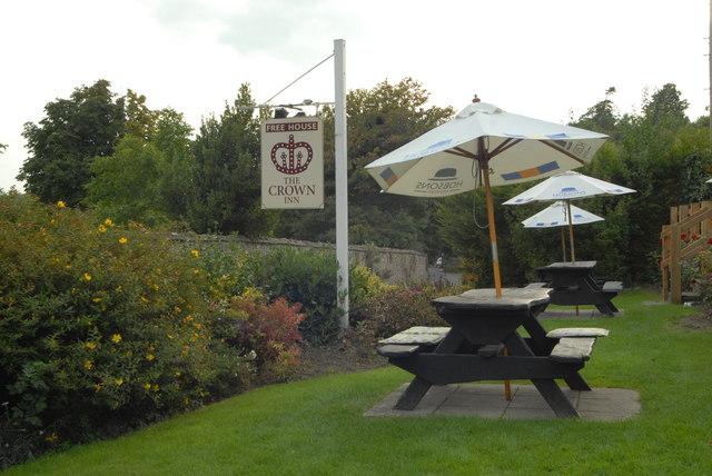 Beer garden at the Crown Inn, Woolhope