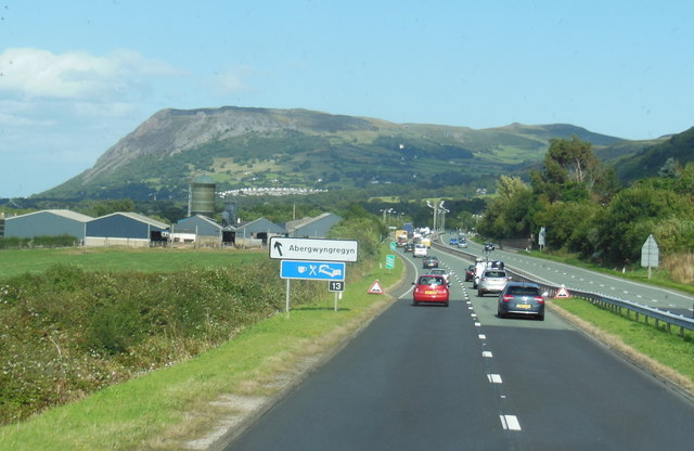 The A55 North Wales Expressway at  junction 13