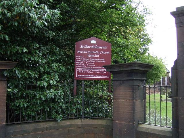 Sign for St. Bartholomew's Roman Catholic Church