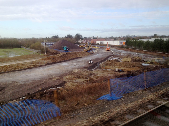 Railway construction northeast of Bicester, 7 February 2014