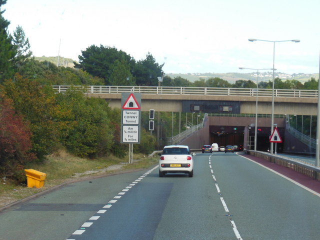 The A55 enters the Conwy Tunnel