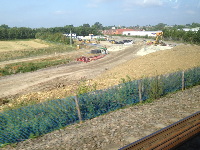 Railway construction northeast of Bicester, 23 July 2014