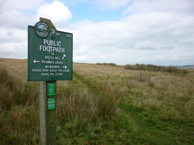 Peak & Northern Footpaths Society waymarker