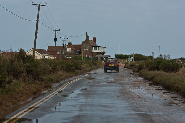 Beach road after a high tide