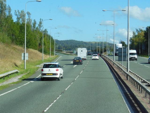 The A55 North Wales Expressway at  junction 18