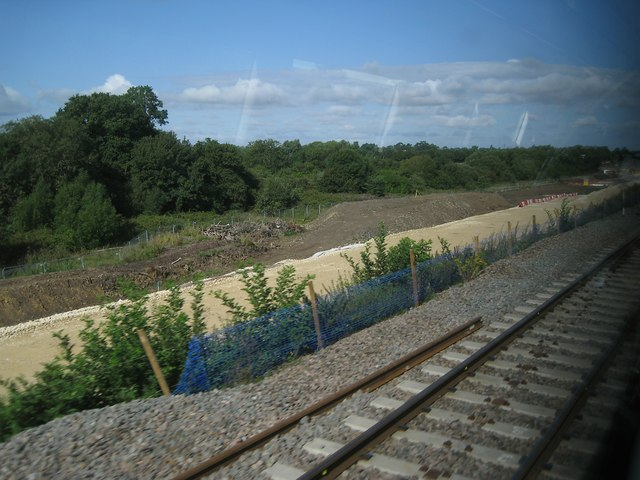 Railway construction northeast of Bicester, 3 August 2014