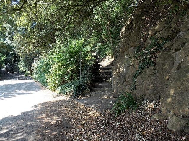 Steps on a public footpath opposite Alma Road, Langland, Swansea