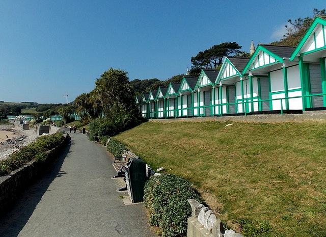 Long line of chalets facing Langland Bay, Swansea