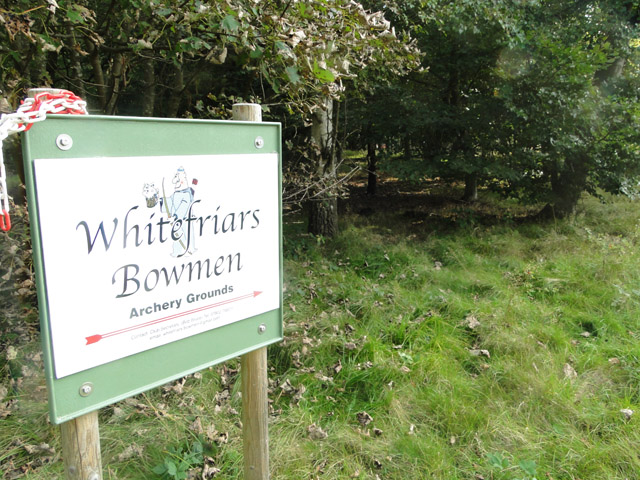 Whitefriars Bowmen Archery club entrance sign