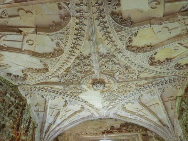 Intricate plasterwork on the fan vaulted ceiling of this porch, Cowdray Castle