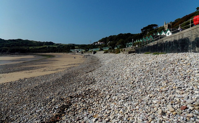Pebbles and sand, Langland Bay, Swansea