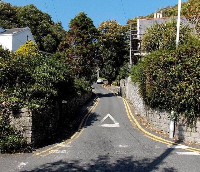 Start of a long steep climb away from Langland Bay, Swansea