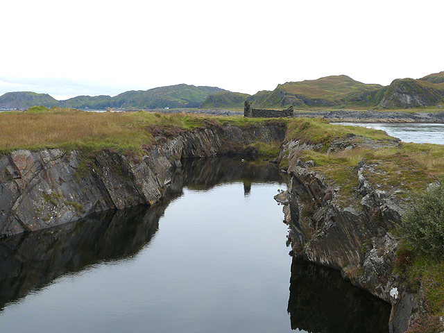 Flooded quarry near Cuan Point