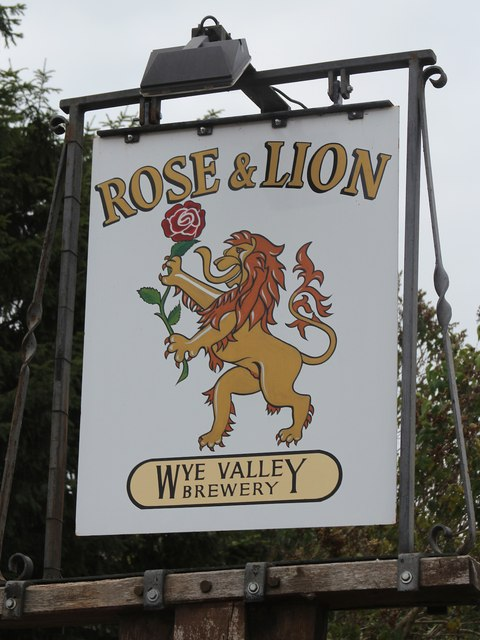 The Rose & Lion sign